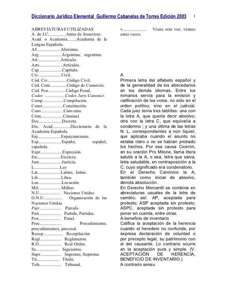 Diccionario Juridico Elemental Guillermo Cabanelas de Torres Edición 2003                         1ABREVIATURAS UTILIZADAS...
