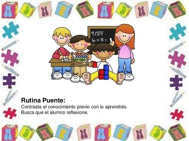 Rutina Puente: Contrasta el conocimiento previo con lo aprendido. Busca que el alumno reflexione.
