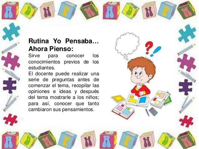 Rutina Yo Pensaba… Ahora Pienso: Sirve para conocer los conocimientos previos de los estudiantes. El docente puede realiza...