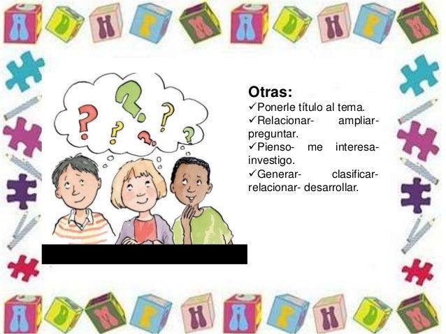 Otras: Ponerle título al tema. Relacionar- ampliar- preguntar. Pienso- me interesa- investigo. Generar- clasificar- re...