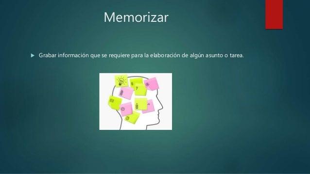 Memorizar  Grabar información que se requiere para la elaboración de algún asunto o tarea.