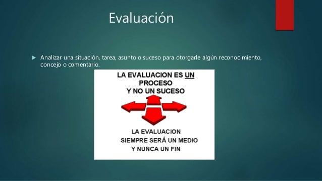 Evaluación  Analizar una situación, tarea, asunto o suceso para otorgarle algún reconocimiento, concejo o comentario.