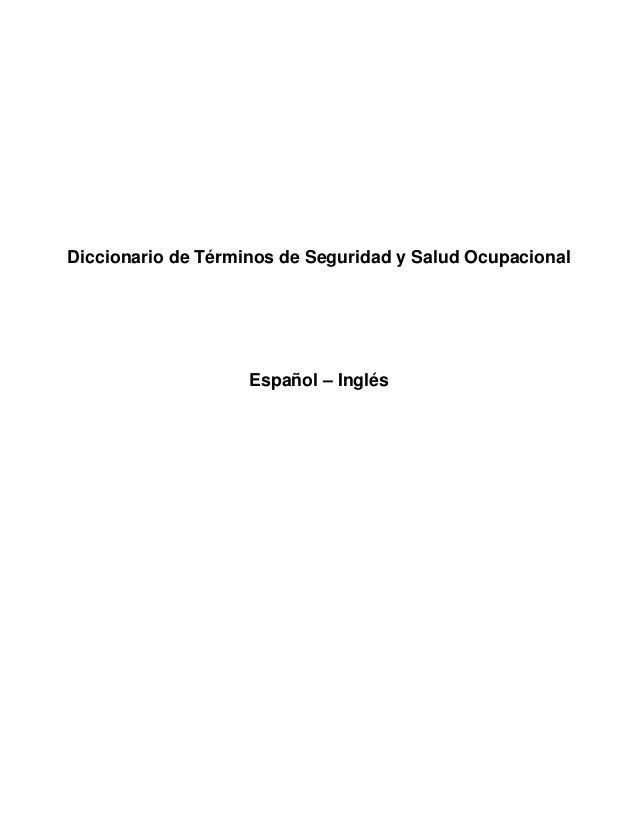 Diccionario seguridad y salud ocupacional spanish english