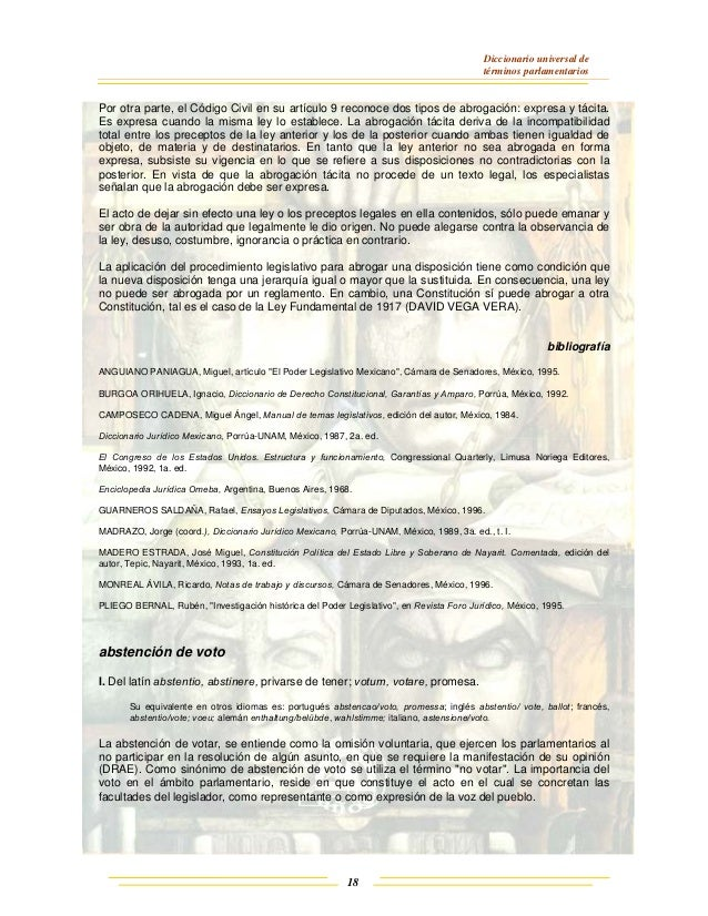 Diccionario universal de términos parlamentarios 18 Por otra parte, el Código Civil en su artículo 9 reconoce dos tipos de...