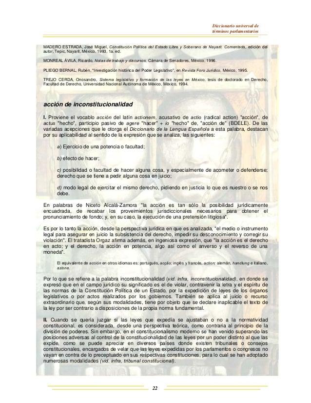 Diccionario universal de términos parlamentarios 22 MADERO ESTRADA, José Miguel, Constitución Política del Estado Libre y ...