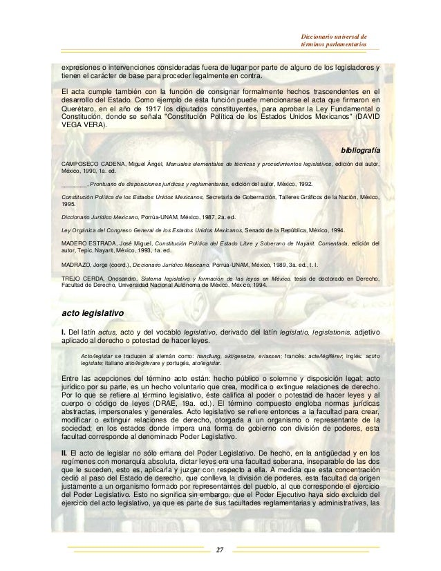 Diccionario universal de términos parlamentarios 27 expresiones o intervenciones consideradas fuera de lugar por parte de ...