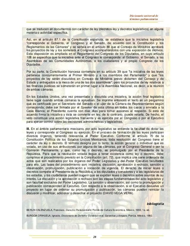 Diccionario universal de términos parlamentarios 28 que se traducen en documentos con carácter de ley (decretos-ley y decr...