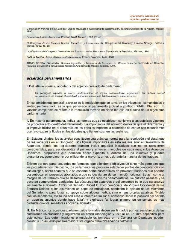 Diccionario universal de términos parlamentarios 29 Constitución Política de los Estados Unidos Mexicanos, Secretaría de G...