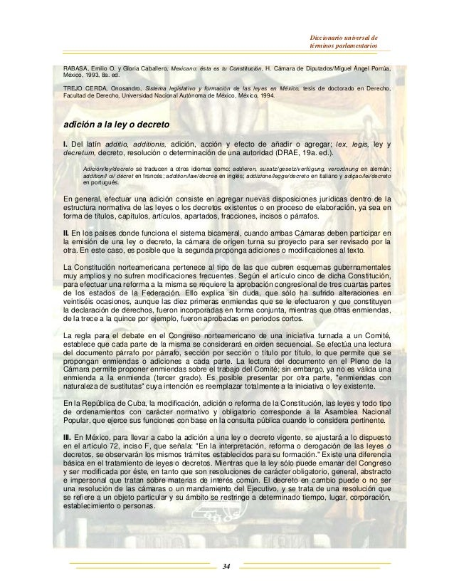 Diccionario universal de términos parlamentarios 34 RABASA, Emilio O. y Gloria Caballero, Mexicano: ésta es tu Constitució...