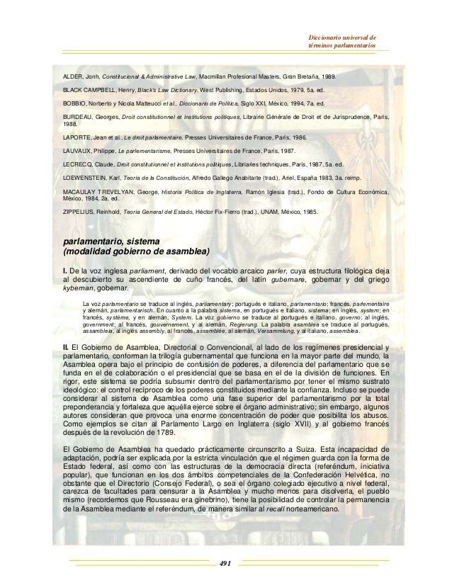 Diccionario universal de términos parlamentarios