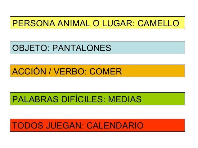PERSONA ANIMAL O LUGAR: CAMELLOOBJETO: PANTALONESACCIÓN / VERBO: COMERPALABRAS DIFÍCILES: MEDIASTODOS JUEGAN: CALENDARIO