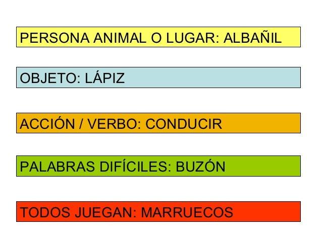 PERSONA ANIMAL O LUGAR: ALBAÑILOBJETO: LÁPIZACCIÓN / VERBO: CONDUCIRPALABRAS DIFÍCILES: BUZÓNTODOS JUEGAN: MARRUECOS