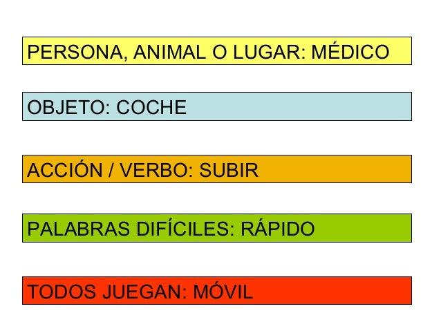 PERSONA, ANIMAL O LUGAR: MÉDICOOBJETO: COCHEACCIÓN / VERBO: SUBIRPALABRAS DIFÍCILES: RÁPIDOTODOS JUEGAN: MÓVIL