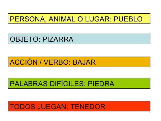 PERSONA, ANIMAL O LUGAR: PUEBLOOBJETO: PIZARRAACCIÓN / VERBO: BAJARPALABRAS DIFÍCILES: PIEDRATODOS JUEGAN: TENEDOR