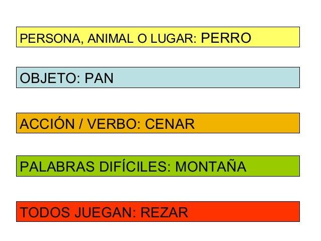 PERSONA, ANIMAL O LUGAR: PERROOBJETO: PANACCIÓN / VERBO: CENARPALABRAS DIFÍCILES: MONTAÑATODOS JUEGAN: REZAR