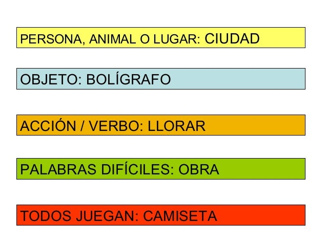 PERSONA, ANIMAL O LUGAR: CIUDADOBJETO: BOLÍGRAFOACCIÓN / VERBO: LLORARPALABRAS DIFÍCILES: OBRATODOS JUEGAN: CAMISETA