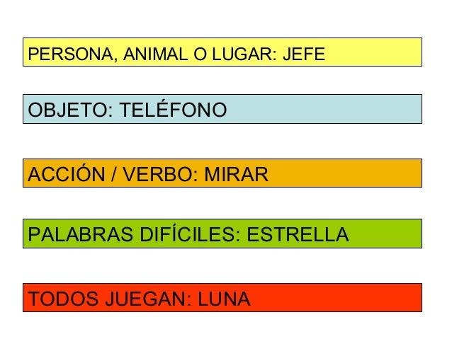 PERSONA, ANIMAL O LUGAR: JEFEOBJETO: TELÉFONOACCIÓN / VERBO: MIRARPALABRAS DIFÍCILES: ESTRELLATODOS JUEGAN: LUNA