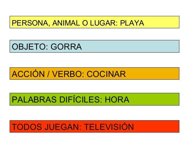 PERSONA, ANIMAL O LUGAR: PLAYAOBJETO: GORRAACCIÓN / VERBO: COCINARPALABRAS DIFÍCILES: HORATODOS JUEGAN: TELEVISIÓN