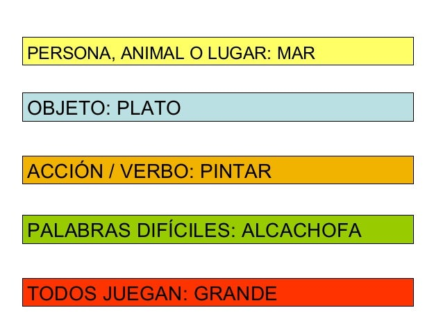 PERSONA, ANIMAL O LUGAR: MAROBJETO: PLATOACCIÓN / VERBO: PINTARPALABRAS DIFÍCILES: ALCACHOFATODOS JUEGAN: GRANDE