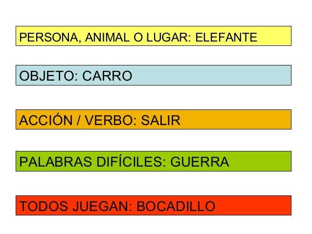 PERSONA, ANIMAL O LUGAR: ELEFANTEOBJETO: CARROACCIÓN / VERBO: SALIRPALABRAS DIFÍCILES: GUERRATODOS JUEGAN: BOCADILLO