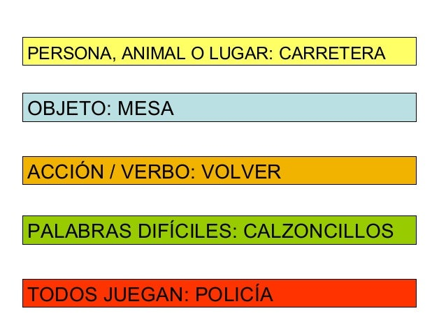 PERSONA, ANIMAL O LUGAR: CARRETERAOBJETO: MESAACCIÓN / VERBO: VOLVERPALABRAS DIFÍCILES: CALZONCILLOSTODOS JUEGAN: POLICÍA