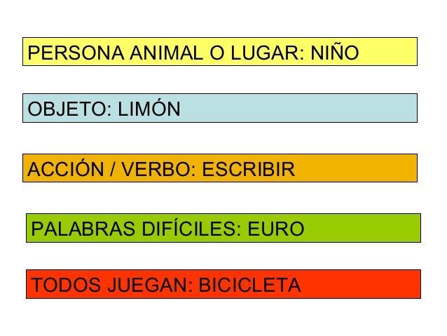 PERSONA ANIMAL O LUGAR: NIÑOOBJETO: LIMÓNACCIÓN / VERBO: ESCRIBIRPALABRAS DIFÍCILES: EUROTODOS JUEGAN: BICICLETA
