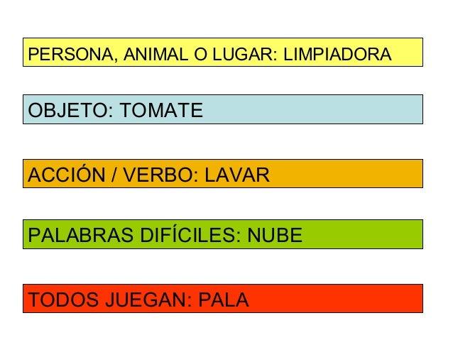PERSONA, ANIMAL O LUGAR: LIMPIADORAOBJETO: TOMATEACCIÓN / VERBO: LAVARPALABRAS DIFÍCILES: NUBETODOS JUEGAN: PALA