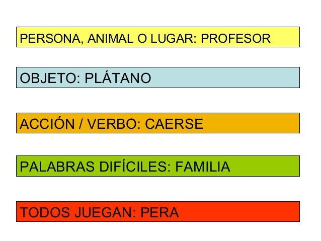 PERSONA, ANIMAL O LUGAR: PROFESOROBJETO: PLÁTANOACCIÓN / VERBO: CAERSEPALABRAS DIFÍCILES: FAMILIATODOS JUEGAN: PERA