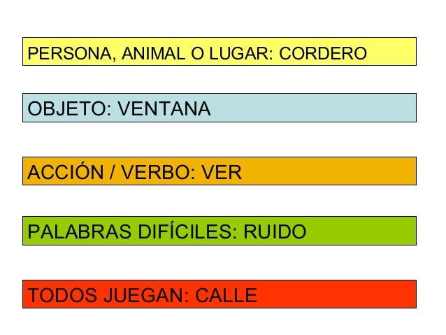 PERSONA, ANIMAL O LUGAR: CORDEROOBJETO: VENTANAACCIÓN / VERBO: VERPALABRAS DIFÍCILES: RUIDOTODOS JUEGAN: CALLE