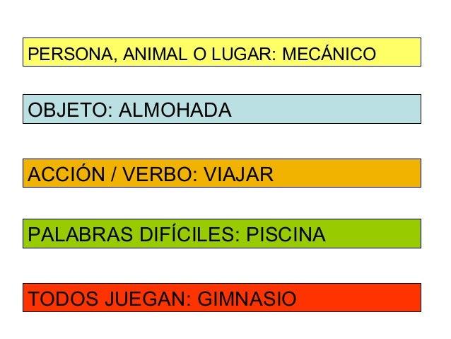 PERSONA, ANIMAL O LUGAR: MECÁNICOOBJETO: ALMOHADAACCIÓN / VERBO: VIAJARPALABRAS DIFÍCILES: PISCINATODOS JUEGAN: GIMNASIO