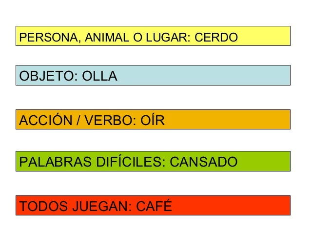 PERSONA, ANIMAL O LUGAR: CERDOOBJETO: OLLAACCIÓN / VERBO: OÍRPALABRAS DIFÍCILES: CANSADOTODOS JUEGAN: CAFÉ