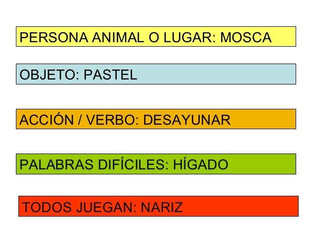 PERSONA ANIMAL O LUGAR: MOSCAOBJETO: PASTELACCIÓN / VERBO: DESAYUNARPALABRAS DIFÍCILES: HÍGADOTODOS JUEGAN: NARIZ