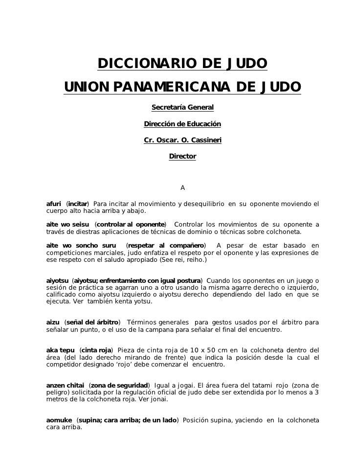 DICCIONARIO DE JUDO      UNION PANAMERICANA DE JUDO                                   Secretaría General                  ...