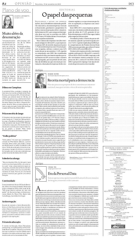 A era da Personal Data - Jornal DCI 19/11/2013