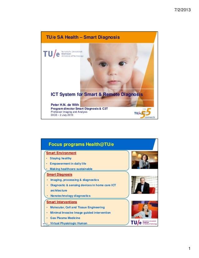 7/2/2013 1 /de With / SA Health Smart Diagnosis / 27 June 2013 TU/e SA Health – Smart Diagnosis ICT System for Smart & Rem...