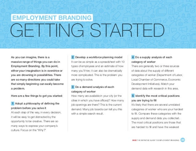 DICE THE DEFINITIVE GUIDE TO EMPLOYMENT BRANDING 20 GETTING STARTED EMPLOYMENT BRANDING As you can imagine, there is a ma...