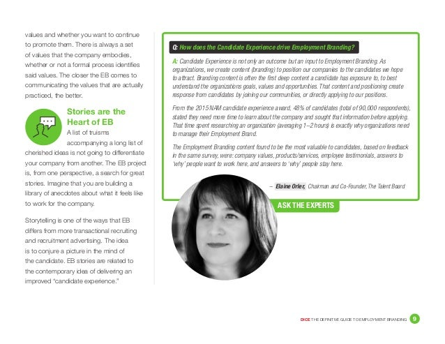 DICE THE DEFINITIVE GUIDE TO EMPLOYMENT BRANDING 9 – Elaine Orler, Chairman and Co-Founder, The Talent Board values and w...