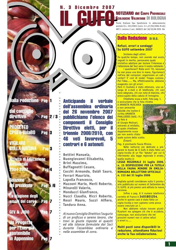 N. 3 Dicembre 2007                                                                        NOTIZIARIO del CORPO PROVINCIALE...