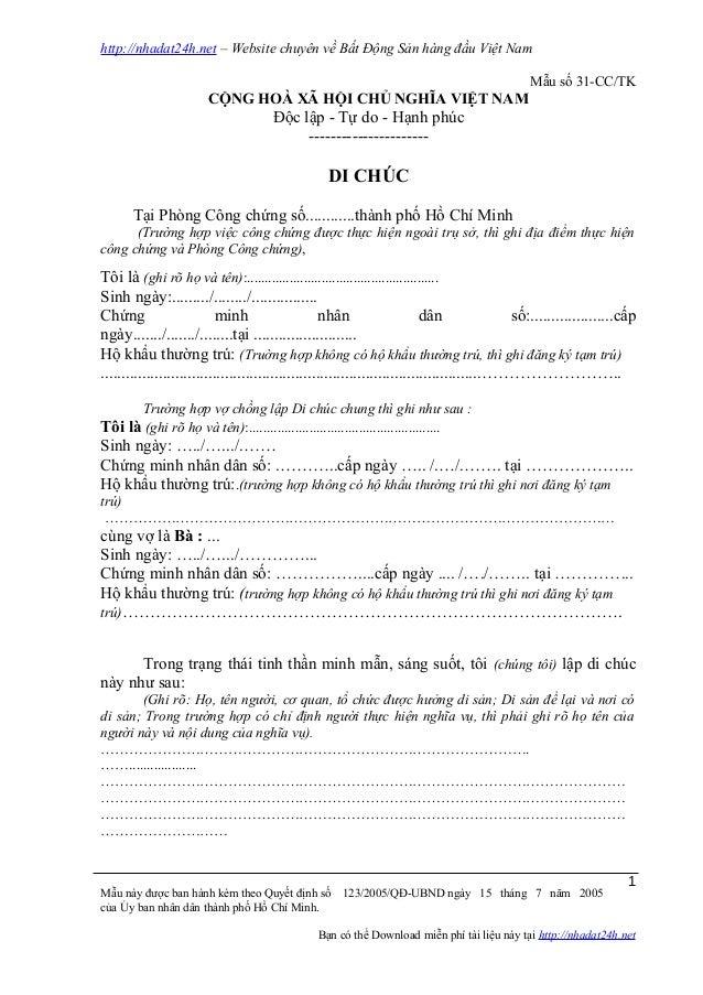 http://nhadat24h.net – Website chuyên về Bất Động Sản hàng đầu Việt Nam Mẫu số 31-CC/TK CỘNG HOÀ XÃ HỘI CHỦ NGHĨA VIỆT NAM...