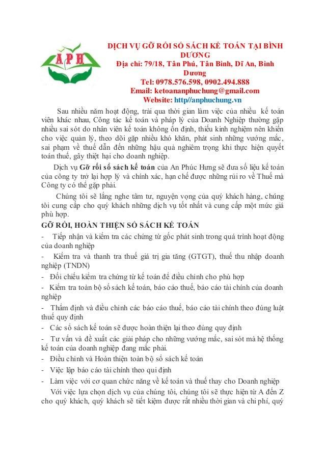 DỊCH VỤ GỠ RỐI SỔ SÁCH KẾ TOÁN TẠI BÌNH DƯƠNG Địa chỉ: 79/18, Tân Phú, Tân Bình, Dĩ An, Bình Dương Tel: 0978.576.598, 0902...