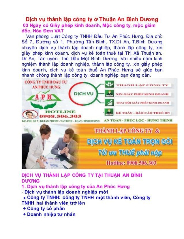 Dịch vụ thành lập công ty ở Thuận An Bình Dương 03 Ngày có Giấy phép kinh doanh, Mộc công ty, mộc giám đốc, Hóa Đơn VAT Vă...