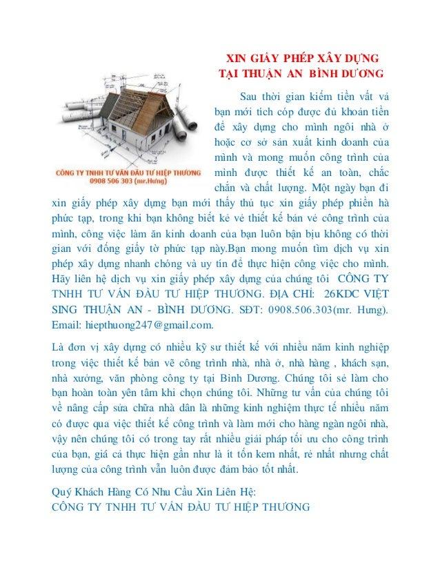 XIN GIẤY PHÉP XÂY DỰNG TẠI THUẬN AN BÌNH DƯƠNG Sau thời gian kiếm tiền vất vả bạn mới tích cóp được đủ khoản tiền để xây d...