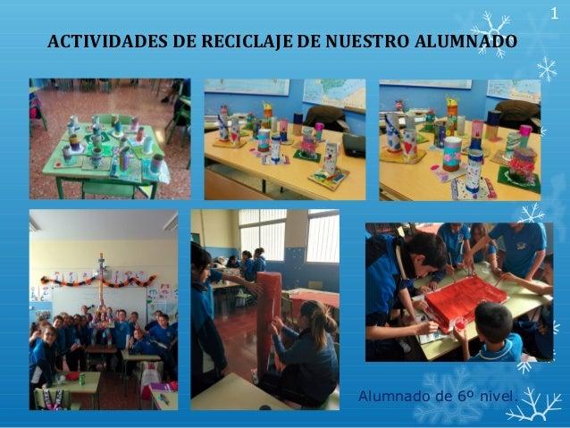 ACTIVIDADES DE RECICLAJE DE NUESTRO ALUMNADO Alumnado de 6º nivel. 1