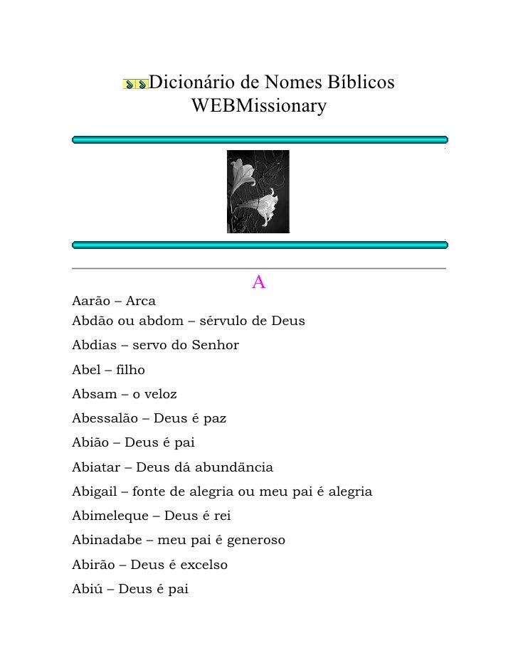 Dicionario de Nomes Biblicos