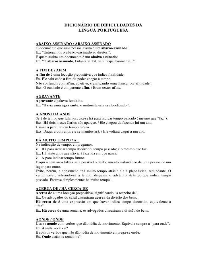 DICIONÁRIO DE DIFICULDADES DA                        LÍNGUA PORTUGUESA  ABAIXO-ASSINADO / ABAIXO ASSINADO O documento que ...