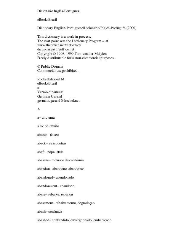 Dicionário Inglês-Português eBooksBrasil Dictionary English-Portuguese|Dicionário Inglês-Português (2000) This dictionary ...
