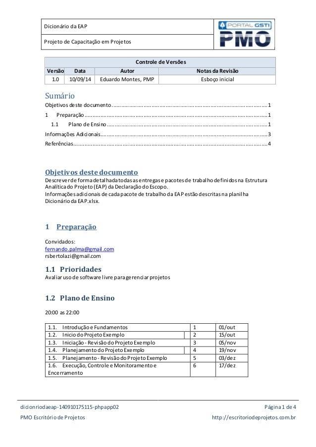 Dicionário da EAP  Projeto de Capacitação em Projetos  dicionriodaeap-140910175115-phpapp02  PMO Escritório de Projetos  P...