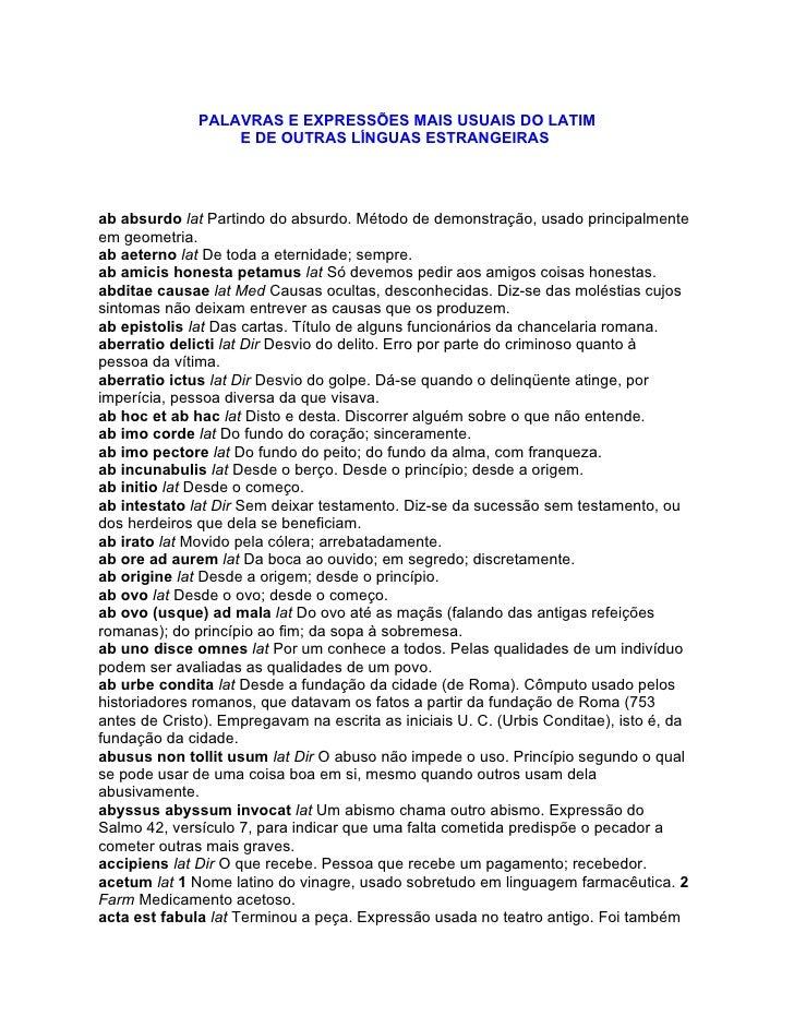PALAVRAS E EXPRESSÕES MAIS USUAIS DO LATIM                   E DE OUTRAS LÍNGUAS ESTRANGEIRAS     ab absurdo lat Partindo ...