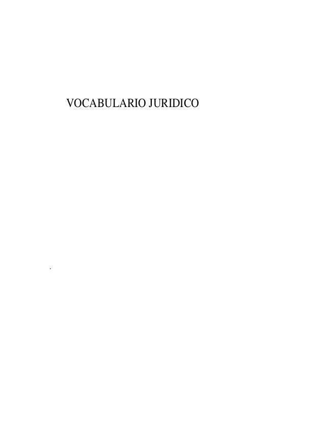 VOCABULARIO JURIDICO '
