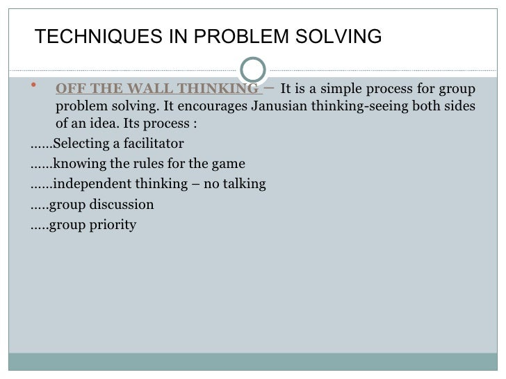 Dicision making skills and problem solving